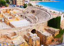 Ruin of Roman amphitheater at  Tarragona Stock Photography