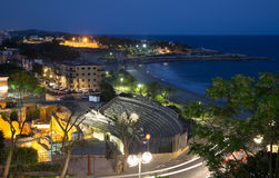 Ruin of Roman amphitheater at Tarragona  in night Stock Images
