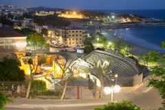Ruin of Roman amphitheater at Tarragona  in night Stock Photography