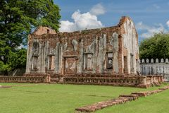The ruin of the royal chapel of King Narai`s of Ayutthaya Kingdom  which was built in 1666. The ruins of royal chapel of King Narai in his palace at Lopburi Stock Photos
