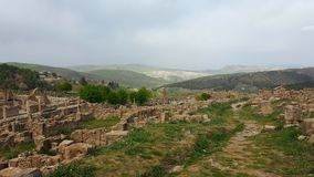 Ruin village of Djemila, Algeria. The ruins were built by the Romans 2000 years ago Royalty Free Stock Photography