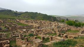 Ruin village of Djemila, Algeria. The ruins were built by the Romans 2000 years ago Stock Photography