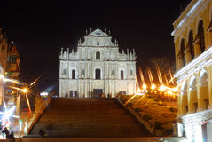 Ruin of the Sao Paulo by night, Macao. Ruins of the St. Paul Cathedral on in Macao. The ruin is the landmark of Macao which advertises the small country royalty free stock photography