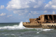The Ruin in the Sea Stock Image