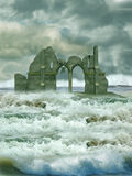 Ruin in the sea royalty free stock image