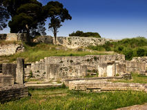 Ruin of the small roman amphitheatre in Pula,Croatia Stock Photo