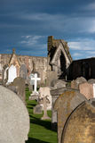 Ruin of St. Andrews. Cemetery of the church St. Andrews in Scotland royalty free stock photos