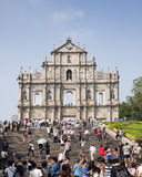 Ruin St.Pual church. Tourists visiting ruin St.Pual church , Macao Asia Royalty Free Stock Photo