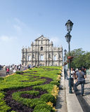 Ruin St.Pual church , Macao. Tourists visiting ruin St.Pual church , Macao Asia Royalty Free Stock Image