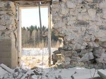 Ruin. Of a swdish barn i a winter landscape Stock Photo