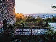 Ruin in Switzerland with drone. DJI Phantom 4 Pro Stock Photo