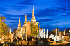 Ruin temple in Ayutthaya. Thailand in twilight time Stock Photos