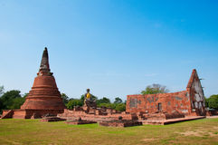Ruin temple in Ayutthaya historical park, Thailand Royalty Free Stock Photography