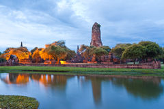 Ruin temple in Ayutthaya with lake. Ruin temple in Ayutthaya Thailand in twilight time with reflection in lake Royalty Free Stock Image
