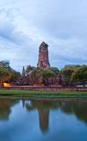 Ruin temple in Ayutthaya with lake horizontal Stock Image