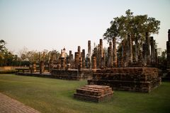 Ruin temple at Sukhothai Historical Park Royalty Free Stock Photos