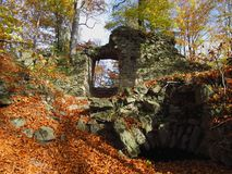 Ruin in tha autumn wood Stock Image