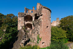 Ruin tower castle. In garden Stock Image