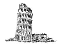 Ruin Tower of Pisa Royalty Free Stock Image