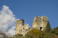 Ruin Tschanüff. Tschan?ff Castle - the ruins west of the village Ramosch is among the most important castles in the Lower Engadine Royalty Free Stock Images