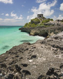 A ruin with a view. Ruin at Tulum Mexico over looking the Mexican-Caribbean Royalty Free Stock Photography