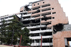Ruins of NATO bombing of Yugoslavia Stock Images