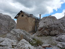 Ruin of a war house in dolomites Royalty Free Stock Images