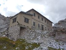 Ruin of a war house in dolomites Stock Photo