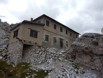 Ruin of a war house in dolomites Royalty Free Stock Photography