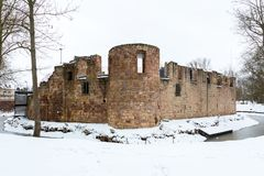 Ruin of water castle Bad Vilbel in the winter. Wetterau, Hesse, Germany Stock Photography