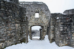 Ruin. Winter. ruin of ancient castle Royalty Free Stock Photo