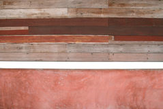 Ruin wood plank and red concrete Royalty Free Stock Images