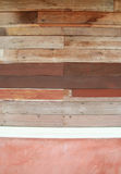 Ruin wood plank and red concrete wall Royalty Free Stock Photo