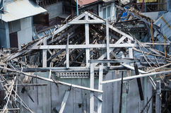 Ruin wooden house. By fire Stock Photos