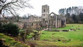 Ruina de la abadía de las fuentes, invierno 2018 Foto de archivo libre de regalías