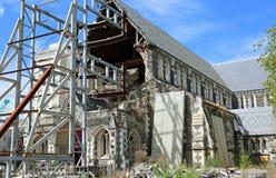 Ruina de la catedral de Christchurch imagen de archivo libre de regalías