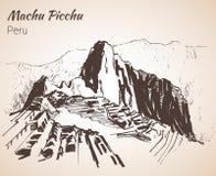 Ruina de la civilización antigua Machu Picchu Perú, bosquejo ilustración del vector