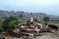 Ruina de las chozas en los tugurios de Maksuda, Varna Foto de archivo libre de regalías