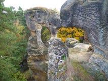 Ruina de un castillo del rotstejn en paraíso bohemio Foto de archivo libre de regalías