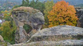 Ruina de un castillo del rotstejn en paraíso bohemio Fotografía de archivo libre de regalías