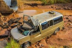 Ruina del coche después de la tormenta tropical Juliette, México, el 28 de agosto de 2013 Foto de archivo