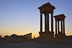 Ruina histórica del Palmyra, ruinas romanas de SyriaAncient Foto de archivo libre de regalías