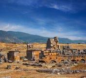Ruinas antiguas de Hierapolis Imágenes de archivo libres de regalías
