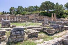 Ruinas antiguas de kamiros en Rodas, Grecia imagenes de archivo