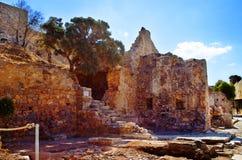 Ruinas antiguas de la isla intermedia de Spinalonga del hospital cerca de Creta en Grecia Imagen de archivo