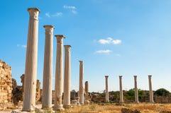 Ruinas antiguas de los salamis Famagusta, Chipre Foto de archivo libre de regalías