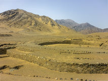 Ruinas antiguas de Supe de la civilización de la ciudad de Caral Foto de archivo libre de regalías