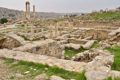 Ruinas antiguas en la colina de la ciudadela en Amman, Jordania Fotos de archivo libres de regalías