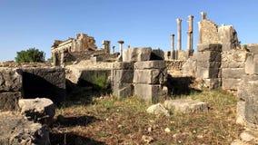 Ruinas antiguas romanas en el sitio archaelogical de la herencia de la UNESCO de Volubilis almacen de video