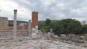 Ruinas antiguas y templos en Ephesus como la herencia étnica de nuestros antepasados almacen de metraje de vídeo